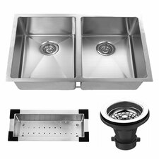 "32"" x 19"" Undermount Stainless Steel Double Bowl Kitchen Sink"