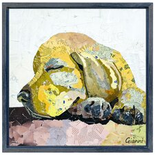 """""""Golden Puppy Dog"""" Paper Collage Signed by Gianni Framed Graphic Art"""