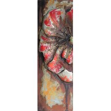 """""""Red Poppy Detail"""" Mixed Media Iron Hand Painted Dimensional Wall Décor"""