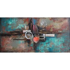"""Composition 1"" Mixed Media Iron Hand Painted Dimensional Wall Décor"