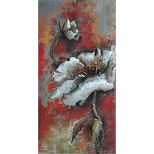 """""""Garden Rose 2"""" Mixed Media Iron Hand Painted Dimensional Wall Décor"""