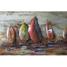 """The Regatta 1"" Mixed Media Iron Hand Painted Dimensional Wall Décor"