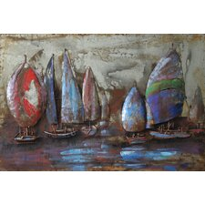 """The Regatta 2"" Mixed Media Iron Hand Painted Dimensional Wall Décor"