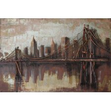"""Bridgescape"" Mixed Media Iron Hand Painted Dimensional Wall Décor"