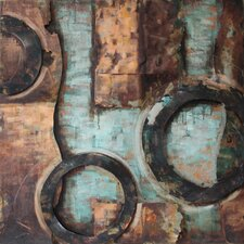 """Revolutions 1"" Mixed Media Iron Hand Painted Dimensional Wall Décor"