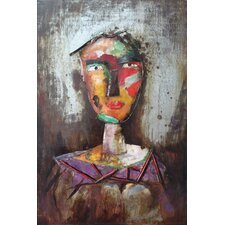 """Homme 2"" Mixed Media Iron Hand Painted Dimensional Wall Décor"