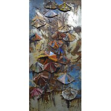 """Umbrellas"" Mixed Media Iron Hand Painted Dimensional Wall Décor"