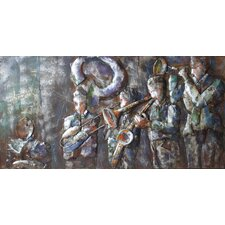 """Jazz Band"" Mixed Media Iron Hand Painted Dimensional Wall Décor"