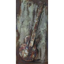 """Electric Guitar"" Mixed Media Iron Hand Painted Dimensional Wall Décor"