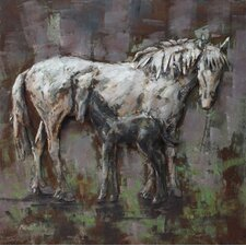 """Mare and Foal"" Mixed Media Iron Hand Painted Dimensional Wall Décor"