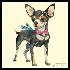 """""""Chihuahua"""" Original Dimensional Collage Hand Signed by Alex Zeng Framed Graphic Art"""