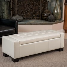 Giordana Leather Storage Ottoman Bench