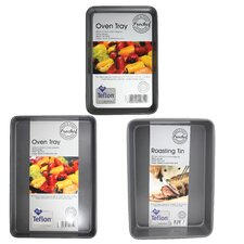 3 Piece Oven Tray and Medium Deep Roasting Tin Set