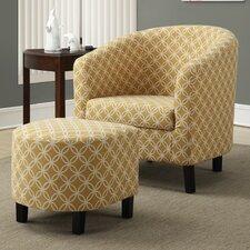 Boulevard Barrel Chair and Ottoman Set
