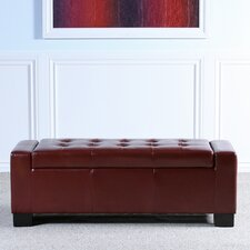 Old York Leather Storage Entryway Bench