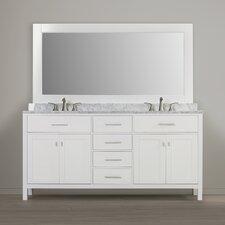 """Halcomb 72"""" Double Bathroom Vanity Set with Mirror"""