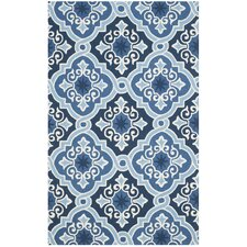 Blocher Hand-Hooked Navy/Blue Indoor/Outdoor Area Rug