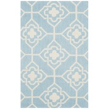 Rue Sauvage Hand-Hooked Light Blue/Ivory Indoor/Outdoor Area Rug