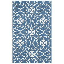 Adams Northwest Hand-Hooked Navy/Ivory Indoor/Outdoor Area Rug