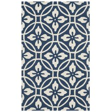 Berchmans Hand-Hooked Navy/Ivory Indoor/Outdoor Area Rug