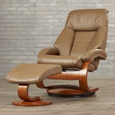 Flathead Lake Leather Ergonomic Recliner and Ottoman
