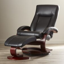Flathead Lake 54 Series Leather Ergonomic Recliner and Ottoman