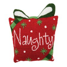 Naughty Hooked Cotton Throw Pillow