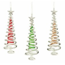 3 Piece Colored Spiral Tree Ornament Set (Set of 3)