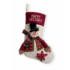 "15.5"" Happy Holidays Snowman Stocking"