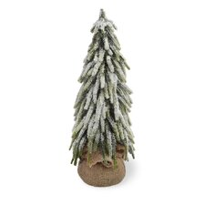 14'' White and Green Fir Tree Artificial Christmas Tree in Jute Base
