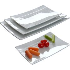 Rectangular Striped 4 Piece Plate Set