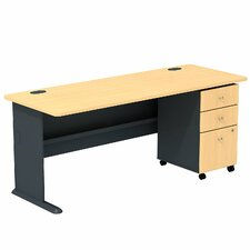 Series A Computer Desk with 3 Drawer Mobile Pedestal