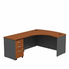 Series C Bow L Shaped Desk Shell with 3-Drawer Mobile Pedestal