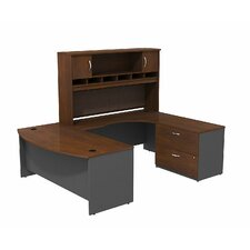 Series C Bowfront RH U-Desk with 2-DrawerDoor Hutch and 2-Drawer Lateral File