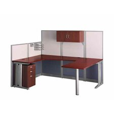 Office-in-an-Hour U-Shape Desk Office Suite with Metal Frame