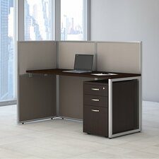 Easy Office Straight Desk with 3 Drawer Mobile Pedestal