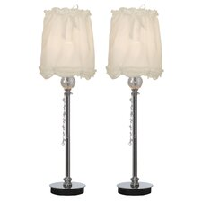 "Drapery Empire Buffet 24"" Table Lamp (Set of 2)"