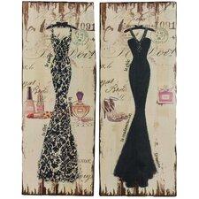 2-tlg. Wandbilder-Set Abendkleider - 90 x 30 cm