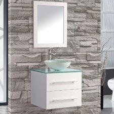 "Cuba 24"" Single Sink Wall Mounted Bathroom Vanity Set with Mirror"