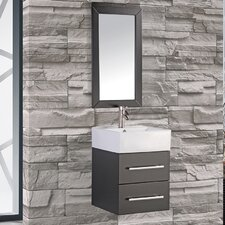 "Nepal 18"" Single Sink Wall Mounted Bathroom Vanity Set with Mirror"