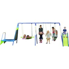 Mountain View Metal Trampoline/Slide and Swing Set