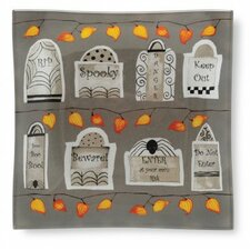"""Tombstones 6"""" Square Tempered Glass Plate (Set of 2)"""