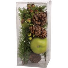 Faux Apple, Berry, & Pinecone Vase Filler in Green