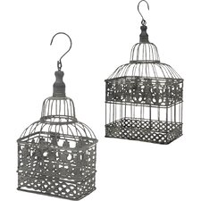 2 Piece Birdcage Outdoor Hanging Lantern/Pendant Set