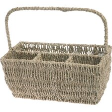 Seagrass Flatware Basket Caddy with Handle
