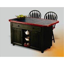 Sunset Selections Kitchen Island with Ceramic Tile Top and Stools