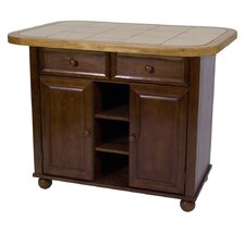Sunset Selections Nutmeg Kitchen Island with Wood Top