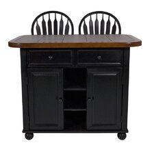 Sunset Selections Kitchen Island with Inlaid Granite Top