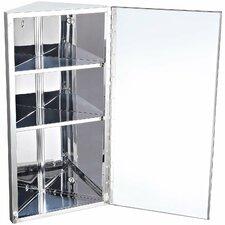 30 x 60cm Corner Mount Flat Mirror Cabinet
