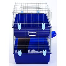 Pawhut Large Double Small Animal Hutch House Run Cage w/ Water Bottle